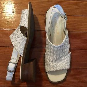 Vintage White Leather Square Toe Sandals Block